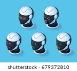 robot emotions set of five... | Shutterstock .eps vector #679372810
