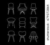 vector set of chairs. outline... | Shutterstock .eps vector #679372864