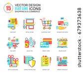 flat line shopping and e...   Shutterstock .eps vector #679373638