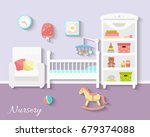 baby room interior. flat design.... | Shutterstock .eps vector #679374088