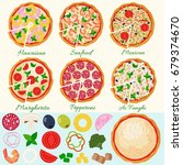pizza set vector illustration.... | Shutterstock .eps vector #679374670
