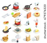 cooking icons isometric set of... | Shutterstock .eps vector #679376320