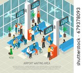 airport waiting area with... | Shutterstock .eps vector #679378093