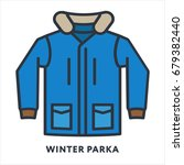 winter parka jacket fur... | Shutterstock .eps vector #679382440