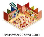 Food Court Interior With Many...