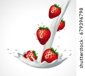 strawberries and falling into... | Shutterstock .eps vector #679396798