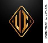 golden monogram logo curved...