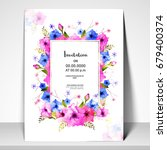 invitation card layout with... | Shutterstock .eps vector #679400374
