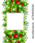 christmas background with fir... | Shutterstock . vector #679405030