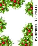 christmas background with fir... | Shutterstock . vector #679406554