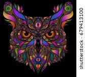 Vector Head Of An Owl Of...