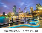 downtown perth skyline in... | Shutterstock . vector #679414813