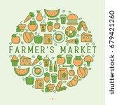 farmer's market concept in... | Shutterstock .eps vector #679421260