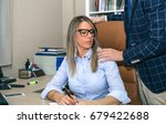 boss sexual harassing to blonde ... | Shutterstock . vector #679422688