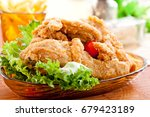 fried chicken and vegetables... | Shutterstock . vector #679423189