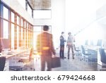 white open space office... | Shutterstock . vector #679424668