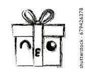 kawaii gift box wrapped ribbon... | Shutterstock .eps vector #679426378