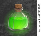 bottle with green potion. game... | Shutterstock .eps vector #679429000