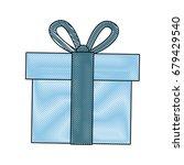 blue gift box wrapped ribbon... | Shutterstock .eps vector #679429540