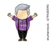 portrait happy grandfather man...   Shutterstock .eps vector #679430590