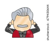 portrait of happy grandfather...   Shutterstock .eps vector #679430644