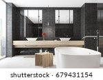 corner of a black bathroom... | Shutterstock . vector #679431154