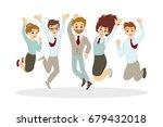 happy jumping businessmen. | Shutterstock . vector #679432018