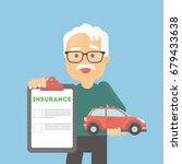 man shows car insurance. | Shutterstock . vector #679433638