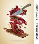 flying pieces of raw steaks ... | Shutterstock . vector #679443880