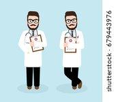 hipster doctor character design ... | Shutterstock .eps vector #679443976
