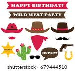 cowboy party hats and western... | Shutterstock .eps vector #679444510
