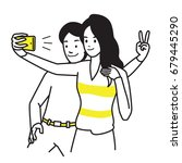selfie lover couple. vector... | Shutterstock .eps vector #679445290