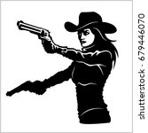 western girl with revolver  ... | Shutterstock .eps vector #679446070