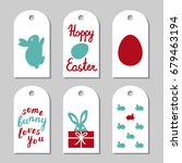 collection of six easter gift... | Shutterstock . vector #679463194