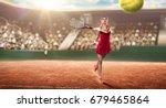 tennis player serving on court | Shutterstock . vector #679465864
