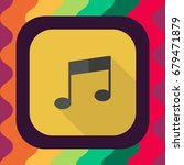 music note flat icon with long...
