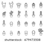 cactus outline icons   Shutterstock .eps vector #679473508