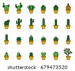 cactus filled line icons   Shutterstock .eps vector #679473520