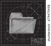 vector blueprint folder icon on ... | Shutterstock .eps vector #679475458