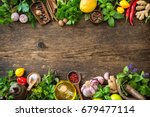 fresh herbs and spices on... | Shutterstock . vector #679477114