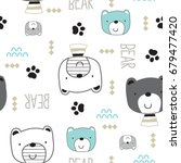 seamless pattern with bear ... | Shutterstock .eps vector #679477420