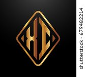 golden monogram logo curved... | Shutterstock .eps vector #679482214