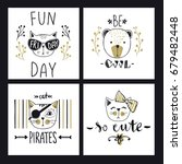 vector card series with cute... | Shutterstock .eps vector #679482448