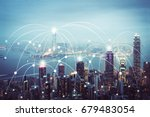 city scape and network... | Shutterstock . vector #679483054