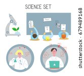 science  set with icons and... | Shutterstock .eps vector #679489168
