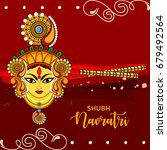 beautiful maa durga face with... | Shutterstock .eps vector #679492564