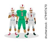 football players with ball in... | Shutterstock . vector #679497670