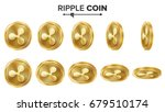 ripple coin 3d gold coins... | Shutterstock .eps vector #679510174