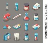 isometric 3d sign health... | Shutterstock .eps vector #679513483