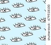 seamless pattern with eyes.... | Shutterstock .eps vector #679518100